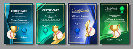 Baseball Game Certificate Diploma With Golden Cup Set Vector. Sport Award Template. Achievement. Honor Background. A4 Vertical. Champion. Best Prize. Winner Trophy. Template Illustration