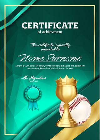 Baseball Certificate Diploma With Golden Cup Vector. Sport Vintage Appreciation. Modern Gift. Print Blank. A4 Vertical. Event Illustration