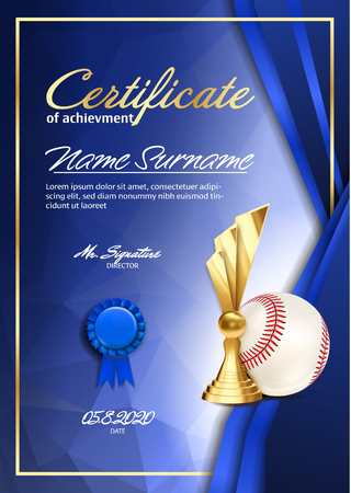 Baseball Certificate Diploma With Golden Cup Vector. Sport Award Template. Achievement Design. Honor Background. A4 Vertical. Illustration