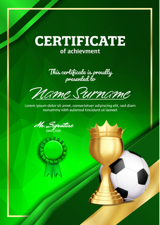 Soccer Certificate Diploma With Golden Cup Vector. Football. Sport Award Template. Achievement Design. Honor Background. A4 Vertical. Illustration Vectores
