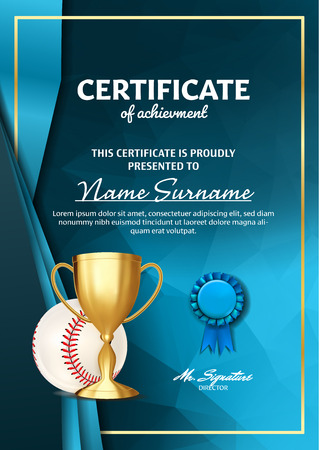 Baseball Game Certificate Diploma With Golden Cup Vector. Sport Graduate Champion. Best Prize. Winner Trophy. A4 Vertical. Illustration Illustration