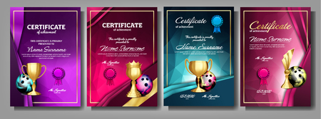 Bowling Game Certificate Diploma With Golden Cup Set Vector. Sport Award Template. Achievement Design. Honor Background. A4 Horizontal. Graduation. Elegant Document. Champion. Best Prize. Illustration