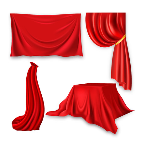Red Silk Cloth Set Vector. Fabric Cloth Waving Shape. For Presentation. Banner, Stage, Cloak, Curtain. Velvet Theater Or Cinema Luxury Textile Drapery. 3D Realistic Element Isolated Illustration