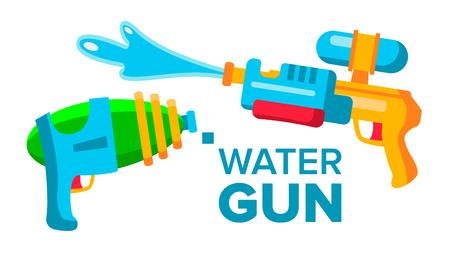 Water Gun Set Vector. Isolated Cartoon Illustration