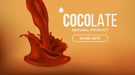 Chocolate Splash Vector. Brown Background. Sweet Dessert Food. Falling Drink. Dark Drop. Tasty Flow. 3D Realistic Illustration  イラスト・ベクター素材