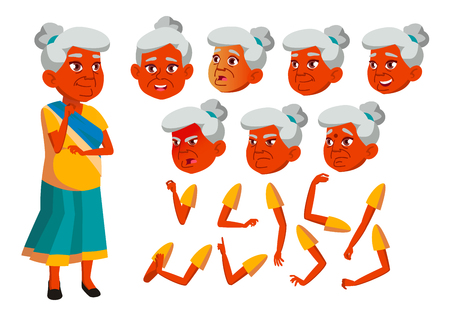 Indian Old Woman Vector. Senior Person. Aged, Elderly People. Positive. Face Emotions, Various Gestures. Animation Creation Set. Isolated Cartoon Character Illustration