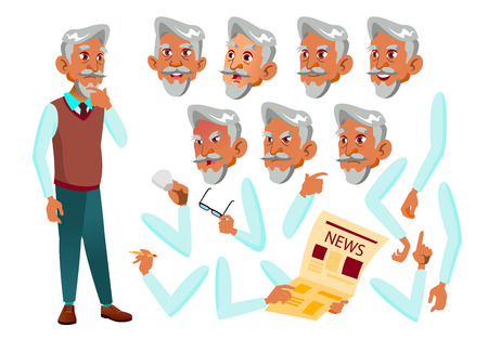 Arab, Muslim Old Man Vector. Senior Person. Aged, Elderly People. Face Emotions, Various Gestures. Animation Creation Set. Isolated Flat Cartoon Character Illustration