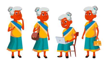 Indian Old Woman Poses Set Vector. Elderly People. Senior Person. Aged. Friendly Grandparent. Banner, Flyer, Brochure Design. Isolated Illustration