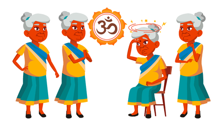 Indian Old Woman Poses Set Vector. Elderly People. Senior Person. Aged. Beautiful Retiree. Life. Design. Isolated Illustration