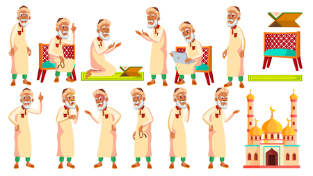 Arab, Muslim Old Man Poses Set Vector. Elderly People. Senior Person. Aged. Active Grandparent. Joy. Presentation, Print, Invitation Design. Isolated Cartoon Illustration Illustration