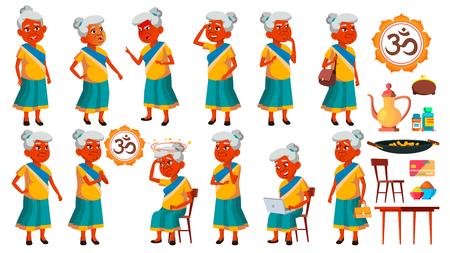 Indian Old Woman Poses Set Vector. Elderly People. Senior Person. Aged. Active Grandparent. Joy. Presentation, Print, Invitation Design Illustration