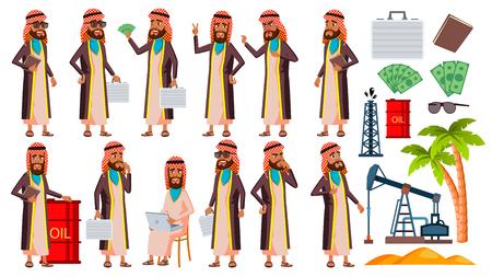Anciano árabe, musulmán plantea establecer Vector. Personas de edad avanzada. Producción de petróleo, jeque, empresario. Persona mayor. Envejecido. Sonrisa. Diseño Web, Póster, Folleto. Ilustración de dibujos animados aislado