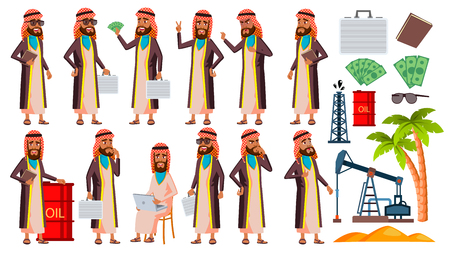 Arab, Muslim Old Man Poses Set Vector. Elderly People. Oil Production, Sheikh, Businessman. Senior Person. Aged. Smile. Web, Poster, Booklet Design. Isolated Cartoon Illustration