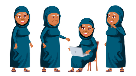Arab, Muslim Old Woman Poses Set Vector. Elderly People. Senior Person. Aged. Friendly Grandparent. Web, Poster, Booklet Design. Isolated Cartoon Illustration