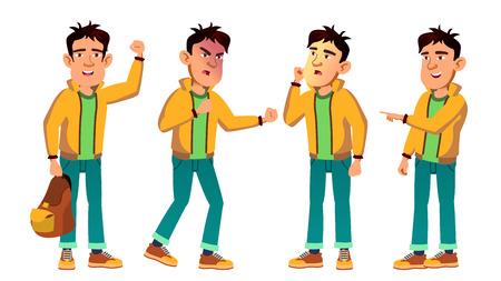 Asiatique Bad Boy Kid Poses Set Vector. Lycéen. Pour le Web, l'affiche, la conception de livret. Illustration de dessin animé
