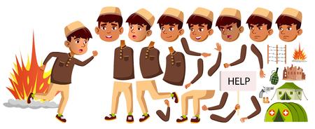 Arab, Muslim Boy Schoolboy Kid Vector. Animation Creation Set. For Banner, Flyer, Brochure Design. Face Emotions, Gestures. Refugee, Military Conflict, War. Animated Illustration Standard-Bild - 117664397