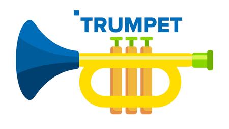Trumpet Vector. Musical Child Instrument. Flat Cartoon Illustration