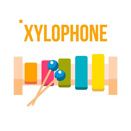 Xylophone Vector. Musical Child Instrument. Flat Cartoon Illustration