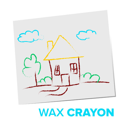 Wax Crayon Child Drawind Vector. My House. Family. Isolated Cartoon Illustration Banque d'images - 125056967