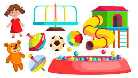 Playground Toys Vector. Doll, Ball, Bear, Carousel, Attraction. Isolated Flat Cartoon Illustration
