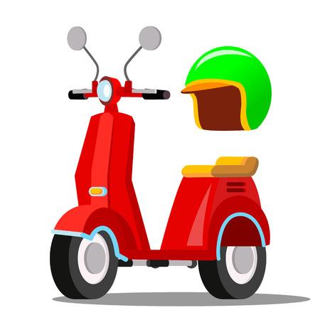 Vecteur de scooter rouge. Transport urbain classique. Illustration de dessin animé plat