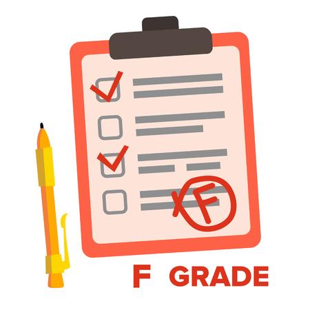 F-Klasse-Vektor. Nicht bestandenes Prüfungszeichen flache Cartoon-Illustration
