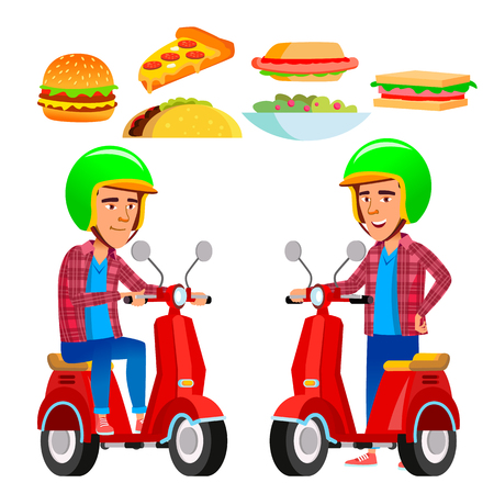 Food Delivery Service Vector. Red Scooter. Man. Pizza. Flat Cartoon Illustration