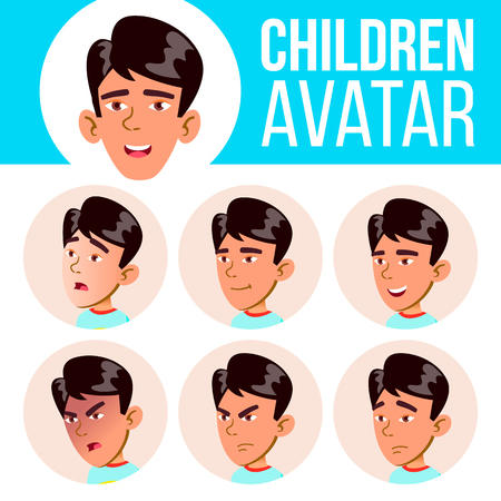 Asian Boy Avatar Set Kid Vector. Primary School. Face Emotions. Flat, Portrait. Youth, Caucasian. Colorful Design Head Illustration