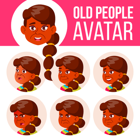 Indian Old Woman Avatar Set Vector. Face Emotions. Senior Person Portrait. Elderly People. Aged. Head, Icon. Happiness Enjoyment. Head Illustration