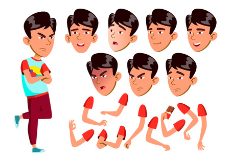 Asian AsianTeen Boy Vector. Teenager. Face. Children. Face Emotions, Various Gestures. Animation Creation Set. Isolated Flat Character Illustration