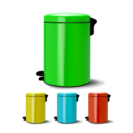 Metal Bucket Vector. Bucketful Different Colors. Classic Jar Empty. Office, Restroom Equipment For Paper Trash. Reatil Object. Realistic Illustration Ilustração