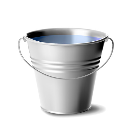 Metal Bucket Full Of Water Vector. Classic Jar. Cleaning Equipment For Water. Package. Realistic Illustration Ilustração