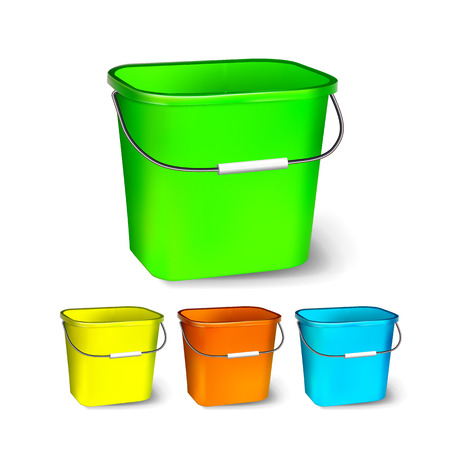Square Plastic Bucket Vector. Bucketful Different Colors. Classic Jar With Handle, Empty. Garden, Household, Office Equipment. Package. Realistic Illustration