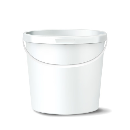 Plastic Bucket Vector. White Claen Empty Blank. Classic Jar With Handle For Paint. Container. Mockup Realistic Illustration Ilustrace