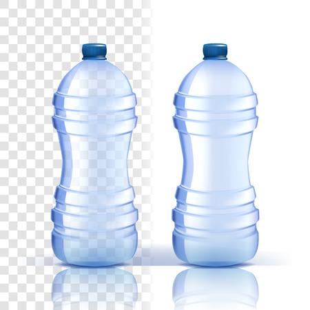 Plastikflasche Vektor. Vollständiges Objekt. Blauere klassische Wasserflasche mit Kappe. Behälter für Getränke, Getränke, Flüssigkeiten, Soda, Saft. Branding-Design. Realistische isolierte transparente Illustration Vektorgrafik