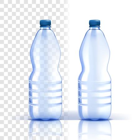 Plastikflasche Vektor. Deckel leer. Blauere klassische Wasserflasche mit Kappe. Behälter für Getränke, Getränke, Flüssigkeiten, Soda, Saft. Branding-Design. Realistische isolierte transparente Illustration
