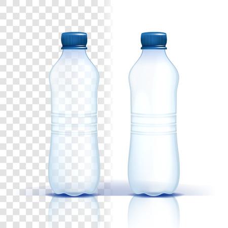 Plastikflasche Vektor. Produkt löschen. Blauere klassische Wasserflasche mit Kappe. Behälter für Getränke, Getränke, Flüssigkeiten, Soda, Saft. Branding-Design. Realistische isolierte transparente Illustration