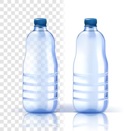 Plastikflasche Vektor. Leeres Etikett. Blauere klassische Wasserflasche mit Kappe. Behälter für Getränke, Getränke, Flüssigkeiten, Soda, Saft. Branding-Design. Realistische isolierte transparente Illustration Vektorgrafik
