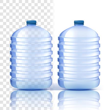 Plastikflasche Vektor. Saubere Abdeckung. Blauere klassische Wasserflasche mit Kappe. Behälter für Getränke, Getränke, Flüssigkeiten, Soda, Saft. Branding-Design. Realistische isolierte transparente Illustration Vektorgrafik