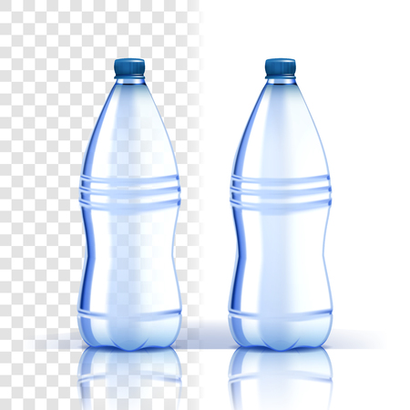 Plastic Bottle Vector. Clean Cover. Bluer Classic Water Bottle With Cap. Container For Drink, Beverage, Liquid, Soda, Juice. Branding Design. Realistic Isolated Transparent Illustration