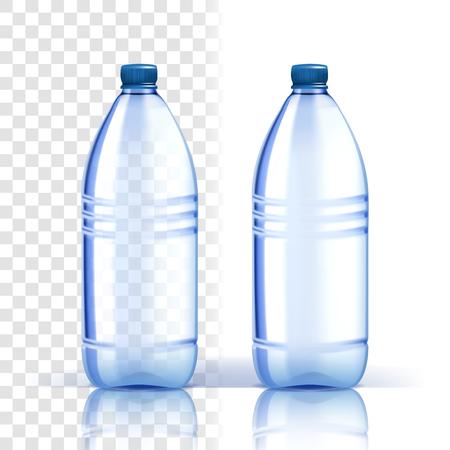 Plastikflasche Vektor. Mockup-Reinheit. Blauere klassische Wasserflasche mit Kappe. Behälter für Getränke, Getränke, Flüssigkeiten, Soda, Saft. Branding-Design. Realistische isolierte transparente Illustration Vektorgrafik