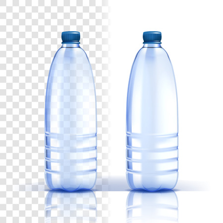 Plastic Bottle Vector. Fresh Template. Bluer Classic Water Bottle With Cap. Container For Drink, Beverage, Liquid, Soda, Juice. Branding Design. Realistic Isolated Transparent Illustration