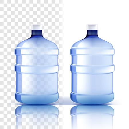 Plastikflasche Vektor. Vollständiges Objekt. Blauere klassische Wasserflasche mit Kappe. Behälter für Getränke, Getränke, Flüssigkeiten, Soda, Saft. Branding-Design. Realistische isolierte transparente Illustration