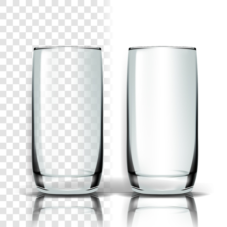 Transparent Glass Vector. Tableware Template. Empty Clear Glass Cup. For Water, Drink, Wine, Alcohol, Juice, Cocktail. Realistic Shining Glassware Transparency Illustration