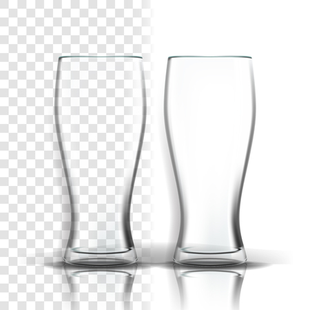 Transparent Glass Vector. Party Glassware. Empty Clear Glass Cup. For Water, Drink, Wine, Alcohol, Juice, Cocktail. Realistic Shining Glassware Transparency Illustration