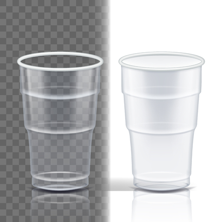 Plastic Cup Transparent Vector. Mockup Coffee. Drink Mug. Disposable Tableware Clear Empty Container. Cold Or Hot Takeaway Drink. Isolated 3D Realistic Illustration