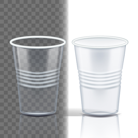 Plastic Cup Transparent Vector. Package Blank. Drink Mug. Disposable Tableware Clear Empty Container. Cold Or Hot Takeaway Drink. Isolated 3D Realistic Illustration