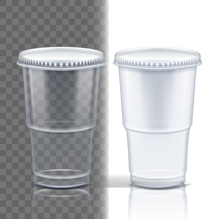 Plastic Cup Transparent Vector. Juice Drink. Drink Mug. Disposable Tableware Clear Empty Container. Cold Or Hot Takeaway Drink. Isolated 3D Realistic Illustration