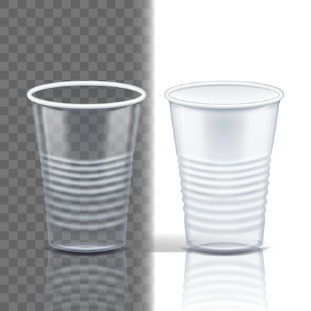 Plastic Cup Transparent Vector. Empty Disposable. Drink Mug. Disposable Tableware Clear Empty Container. Cold Or Hot Takeaway Drink. Isolated 3D Realistic Illustration