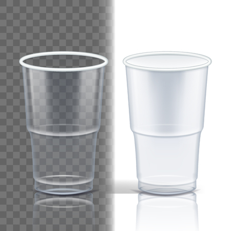 Plastic Cup Transparent Vector. Clean Object. Drink Mug. Disposable Tableware Clear Empty Container. Cold Or Hot Takeaway Drink. Isolated 3D Realistic Illustration